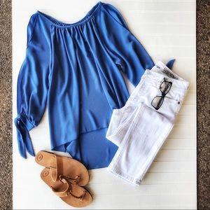 💎Beautiful BLUE SPLIT SLEEVE TOP